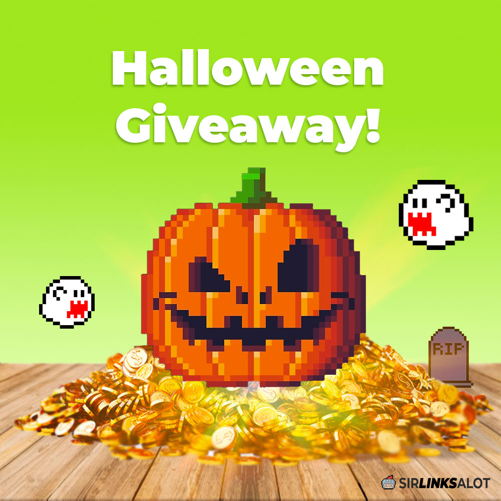 Promotional image for our Halloween backlink giveaway contest.