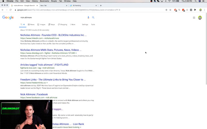 Showing what the SERP looks like on Google.