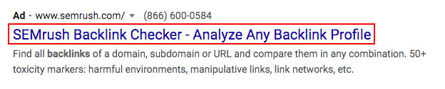 Example of a backlink from a PPC campaign.