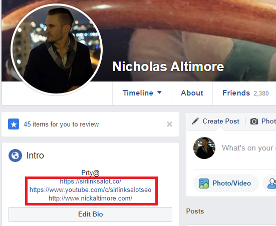 Example of profile links on Facebook.
