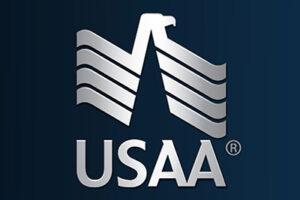 USAA's logo.