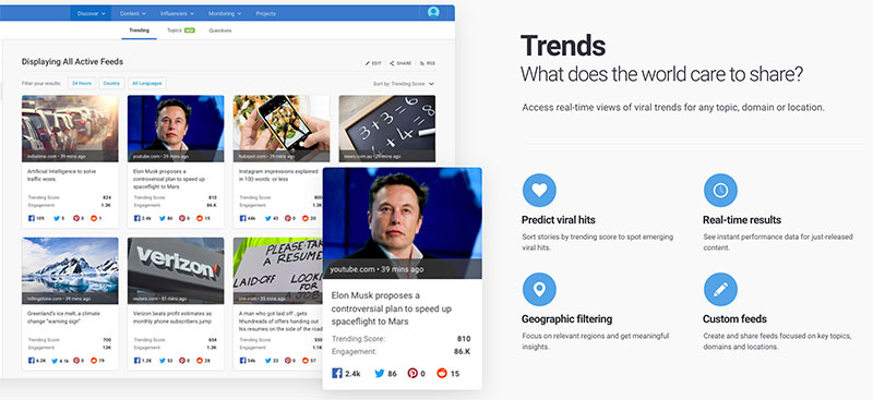 BuzzSumo trends is great for content discovery.