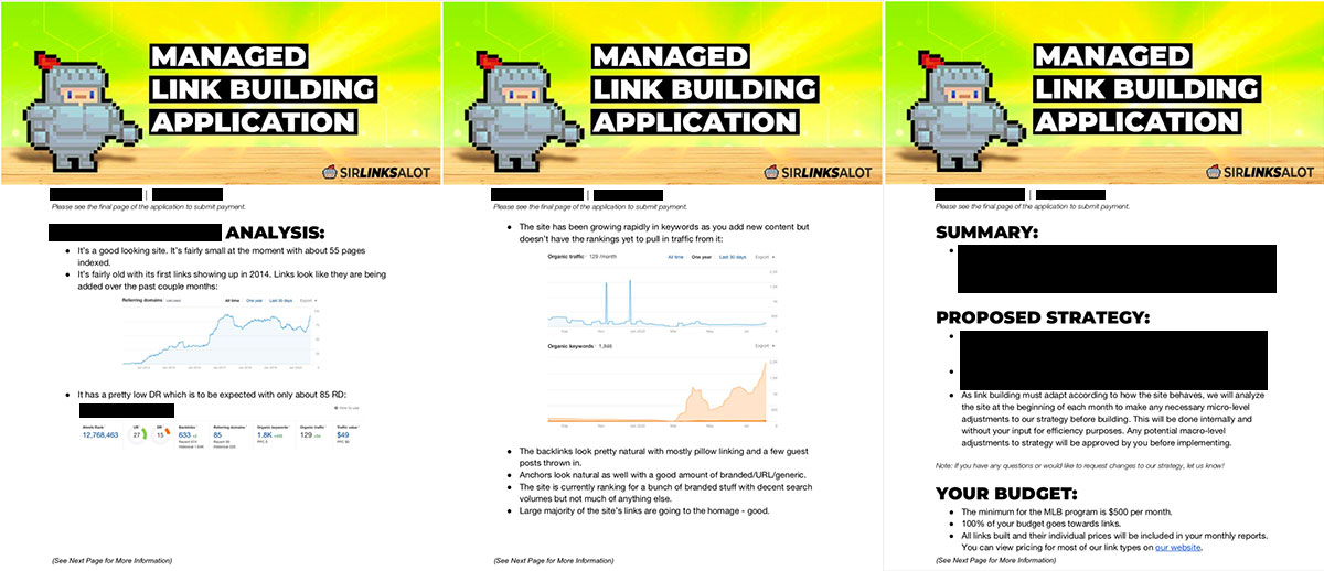 Managed Link Building application example.