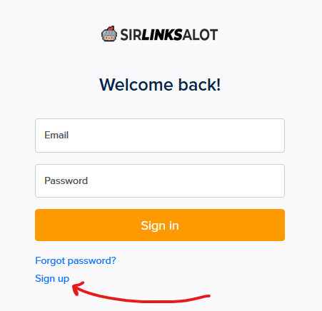 Creating a new account on SirLinksalot.