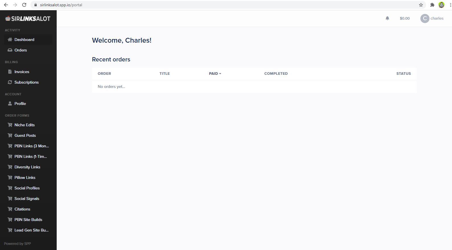 The SirLinksalot client portal.