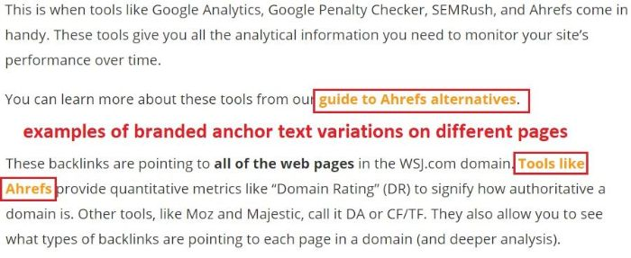 change up the anchor text for a keyword
