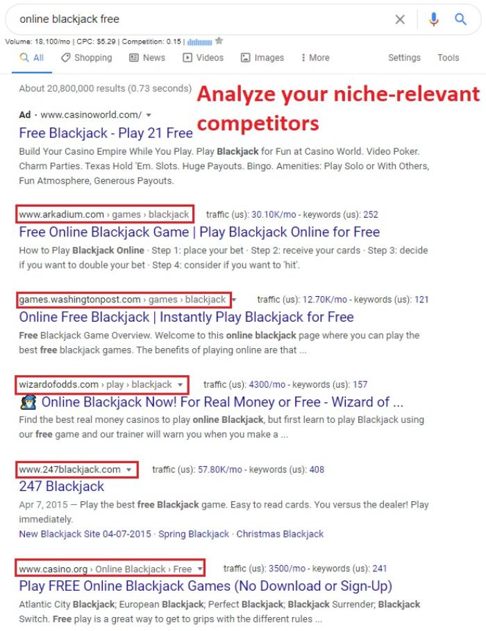 look at niche-relevant SERP competitors