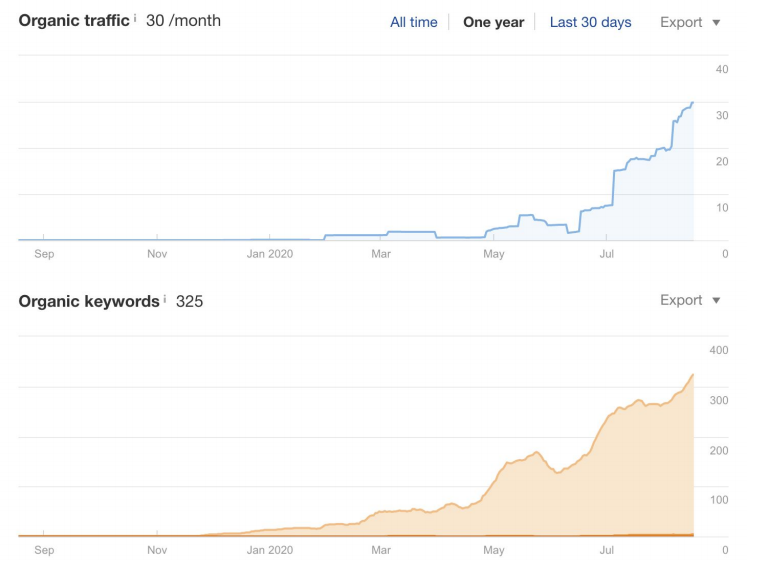 The initial keywords and traffic graphs of our case study website.