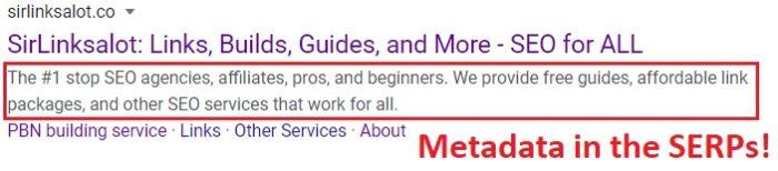 metadata describes websites in the SERPs