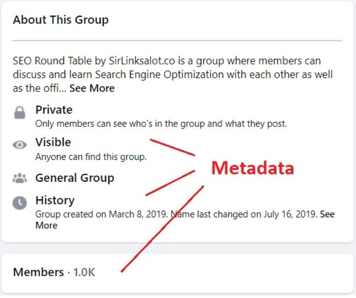profile pages contain metadata