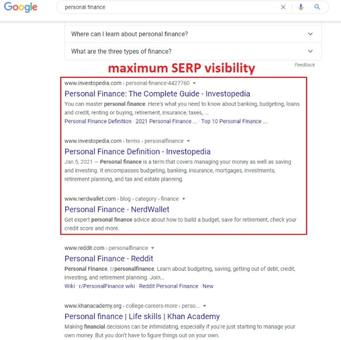 you want to be on the first page SERP