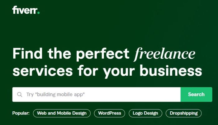 Fiverr is an online marketplace for digital freelance work