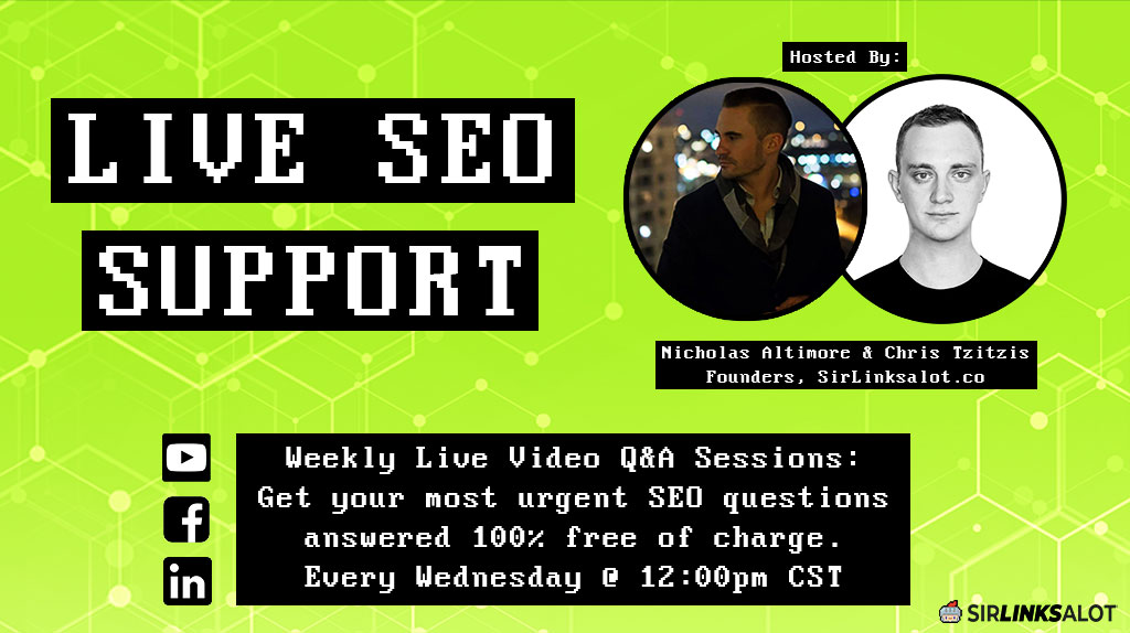 Get SEO help weekly during our Q&A livestreams via Facebook and Youtube!